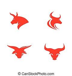Bull head logo vector icon