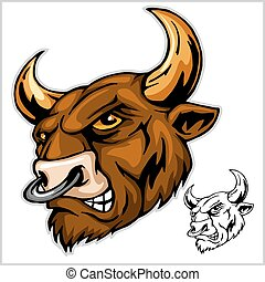 Bull head mascot - vector illustration
