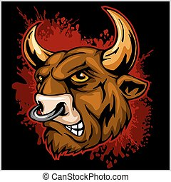 Bull head mascot - vector illustration - Bull head mascot on...