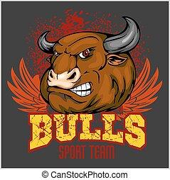 Bull Head Mascot - vector illustration for sport team and...