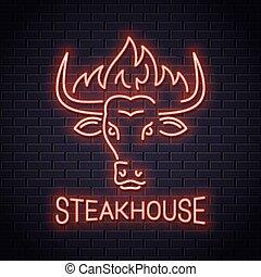 Bull head neon logo of steakhouse. Bull with fire