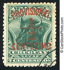 Bull Head - URUGUAY - CIRCA 1895: stamp printed by Uruguay,...