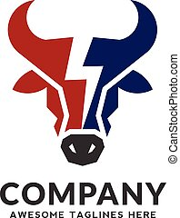 Bull head power vector logo concept