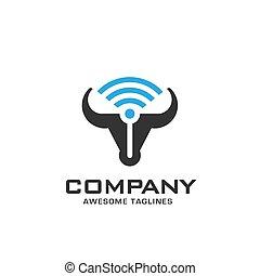 Bull head power vector with WiFi logo