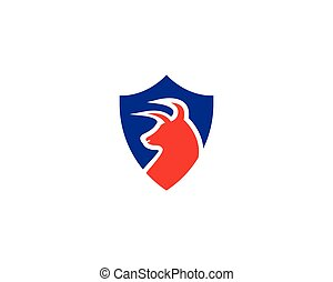 Bull head shield logo design vector