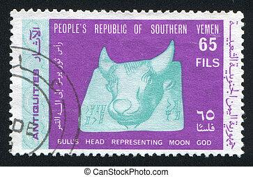 Bull Head - YEMEN - CIRCA 1968: stamp printed by Yemen,...