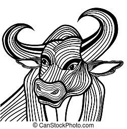 Bull head vector animal illustration for t-shirt.