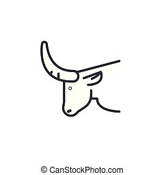 bull head vector line icon, sign, illustration on background, editable strokes