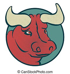 Bull head - vector logo illustration. Buffalo sign.
