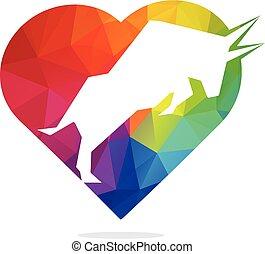 Bull heart shape vector logo design.
