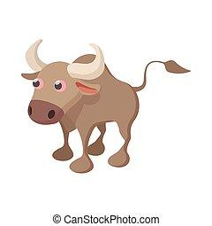 Bull icon, cartoon style