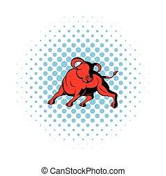 Bull icon in comics style