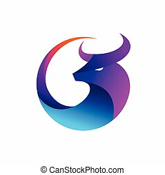 Bull icon logo, buffalo logo design