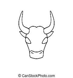Bull icon. Ox logo. Cow symbol. Hand drawn doodle illustration