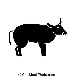 bull icon, vector illustration, sign on isolated background