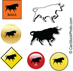 bull icons and buttons collection vector
