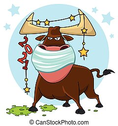 Bull illustration. The symbol of the Chinese New Year 2021. ...