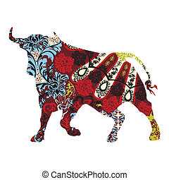 bull in a Spanish ornament - silhouette of a bull in a...
