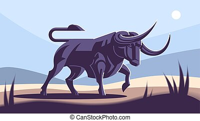 Bull in nature.