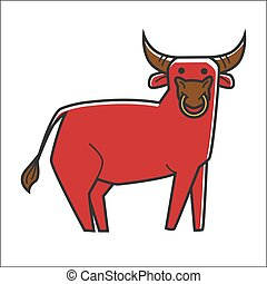 Bull in red color isolated on white graphic poster