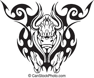 Bull in tribal style - Black and white image bull in tribal ...