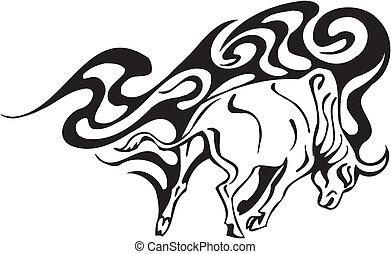 Bull in tribal style