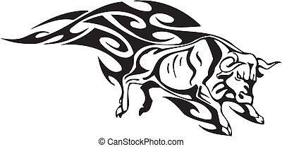 Bull in tribal style