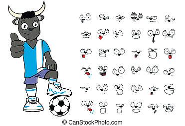 bull kid soccer cartoon set1