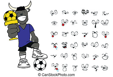 bull kid soccer cartoon set10