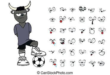 bull kid soccer cartoon set11