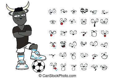 bull kid soccer cartoon set2