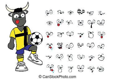 bull kid soccer cartoon set3