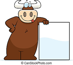 A happy cartoon bull leaning on a sign.