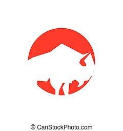 Bull logo design vector illustration template