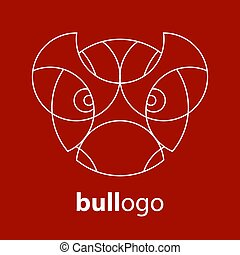 Bull logo, icon template. White on red background. Vector illustration.