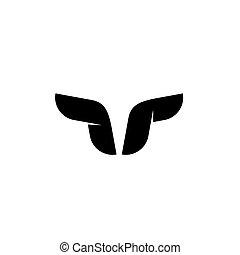 Bull logo vector symbol, buffalo horns, geometric taurus head shape