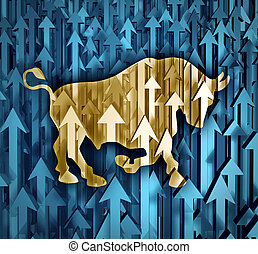 Bull Market - Bull market business concept with a group of...