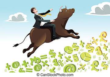 Bull market - A vector illustration of a businessman riding...