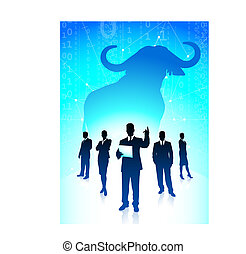 Bull market concept with binary code