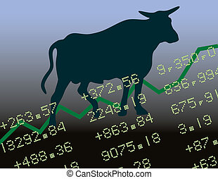 Bull Market in the Black - Conceptual illustration of a Bull...