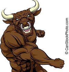 Bull mascot punching