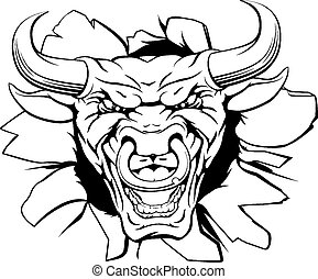 Bull mascot smashing out - A mean bull character or sports ...
