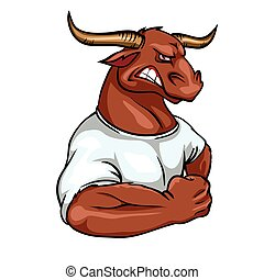 Bull mascot, team label design. - Bull mascot, team label...