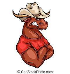 Bull mascot, team label design. - Bull mascot, team label ...