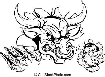 Bull or Minotaur monster smashing through wall and tearing it apart