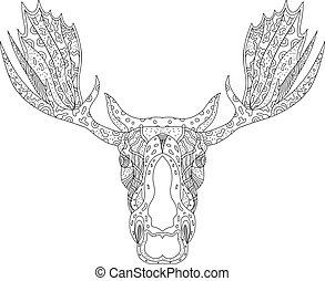 Bull Moose Head Doodle