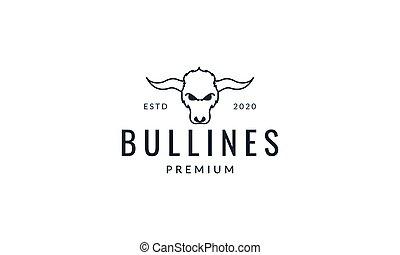 bull or bison head face line minimalist logo vector illustration design