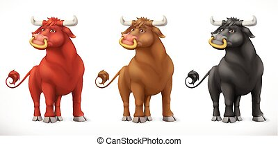 Bull. Ox animal in the Chinese zodiac, Chinese calendar. 3d vector icon