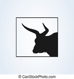 bull, ox icon vector black silhouette. isolated on white background