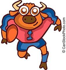 Bull playing american football cartoon
